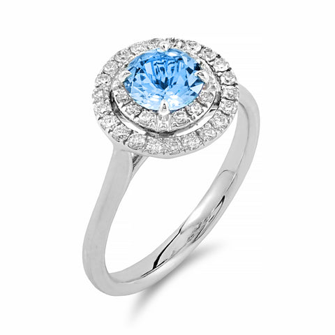Dazzling Double Halo Aquamarine Ring