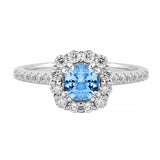 Aquamarine & Diamond Halo Ring