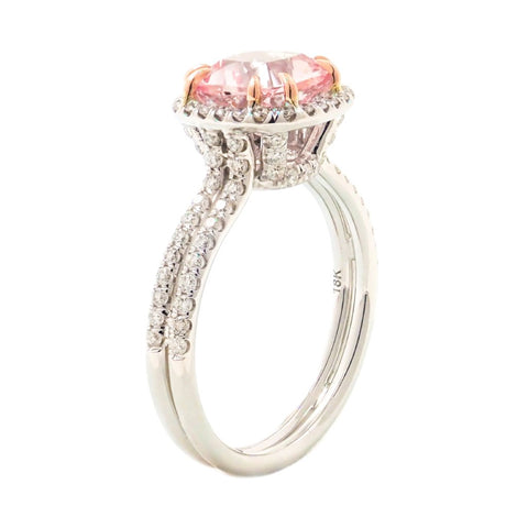 Morganite Cushion diamond halo ring