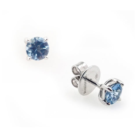 Solitaire Aqumarine Stud Earrings