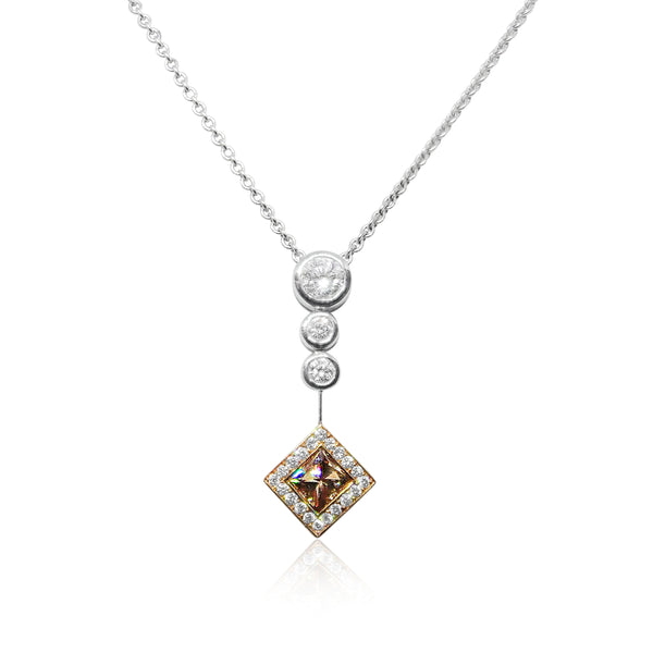 Princess Cognac Diamond Pendant 18ct