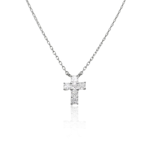 Asscher Cut Diamond Cross Platinum