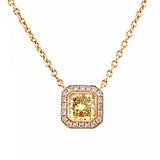 Natural Yellow Diamond Halo Pendant 18ct