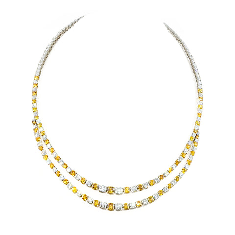Incredible! Brilliant Orange & White Diamond Necklace Crafted in 18ct White and Yellow Gold | Shop Online | Necklace - Rosendorff