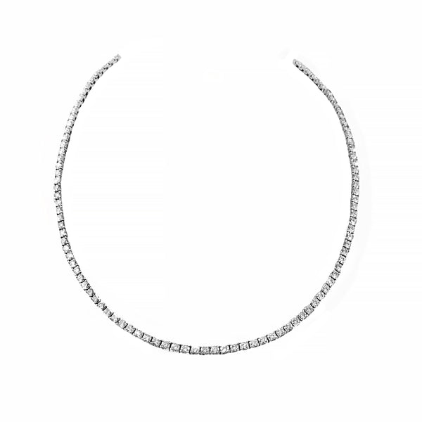 Elegant Diamond Tennis Necklace Crafted in 18ct White Gold | Shop Online | Necklace - Rosendorff