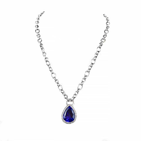 Extraordinarily Vibrant Tanzanite & Diamond Necklace 18ct White gold | Shop Online | Pendant - Rosendorff