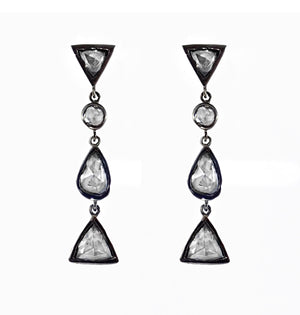 Exquisite Old Cut Diamond Earrings set in 9ct Yellow Gold Overlaid with Black Rhodium