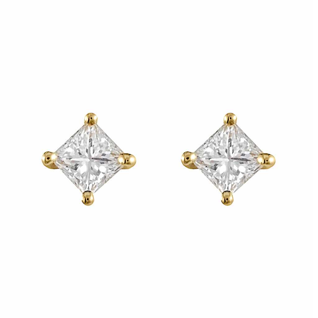Princess Cut Diamond Studs | Shop Online | Earrings - Rosendorff