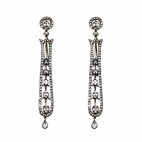 Vintage Diamond Drop Earrings 3.99 carats 18 carat white gold | Shop Online | Earrings - Rosendorff