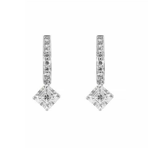 Square Emerald and Brilliant Cut Diamond Drop Earrings Set in Platinum | Shop Online | Earrings - Rosendorff