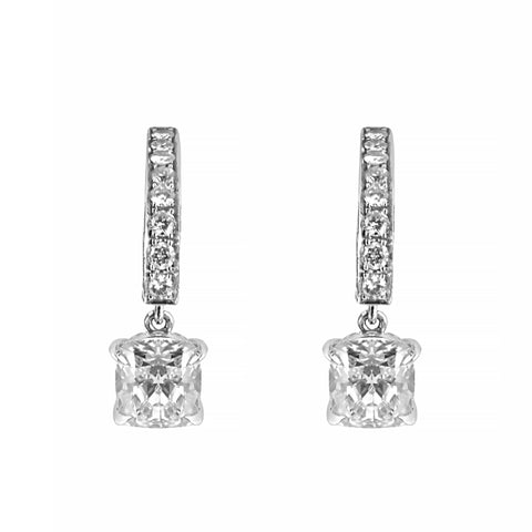 Cushion and Brilliant Cut Diamond Drop Earrings Set in Platinum | Shop Online | Earrings - Rosendorff