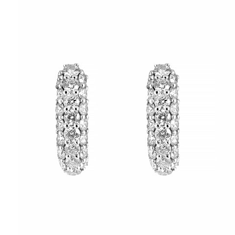 Stunning Pave Set Diamond Hoop Earrings 18ct White Gold | Shop Online | Earrings - Rosendorff