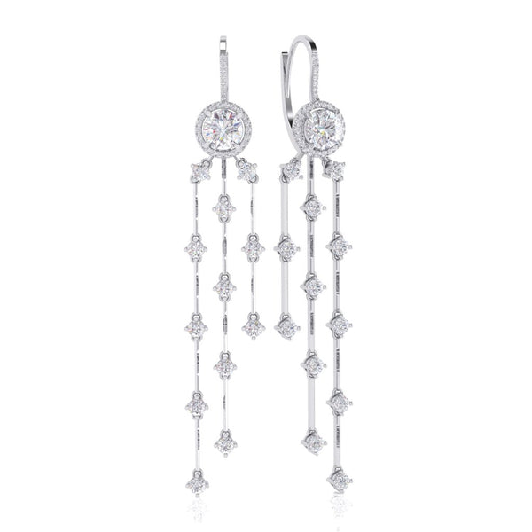 White Gold Diamond Earring - 150993