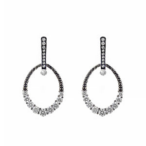 Rosendorff Couture Collection Earrings Featuring Black Rhodium & White Brilliant Diamonds in 18ct White Gold