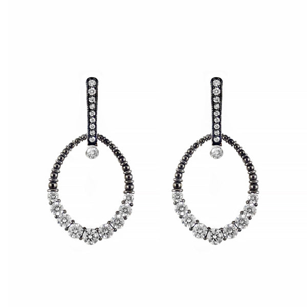 Rosendorff Couture Collection Earrings Featuring Black Rhodium & White Brilliant Diamonds in 18ct White Gold | Shop Online | Earrings - Rosendorff