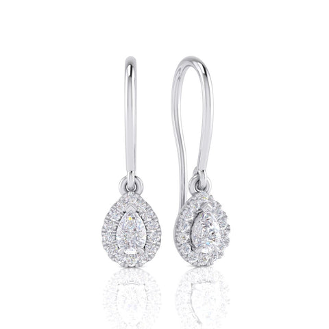 Pear Shaped Diamond Halo Drop Earrings