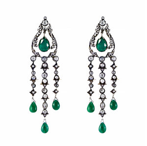 Vintage Design  Emerald and Diamond Drop Earrings 18ct white gold