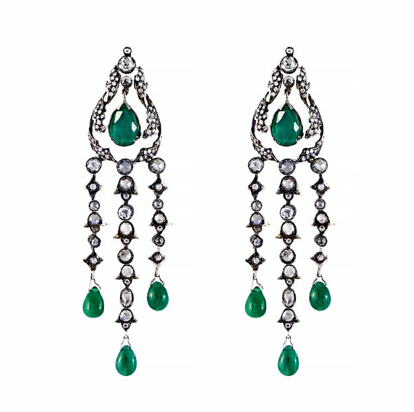 Vintage Design Emerald and Diamond Drop Earrings 18ct white gold | Shop Online | Earrings - Rosendorff