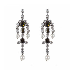 Diamond Tourmaline and Pearl Drop Earrings