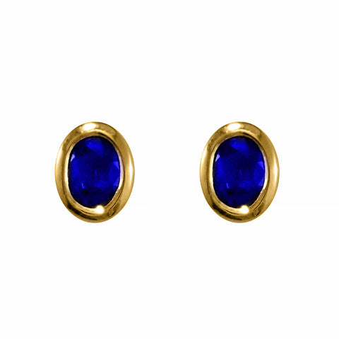 Blue Sapphires in 18ct Gold Stud Earrings | Shop Online | Earrings - Rosendorff