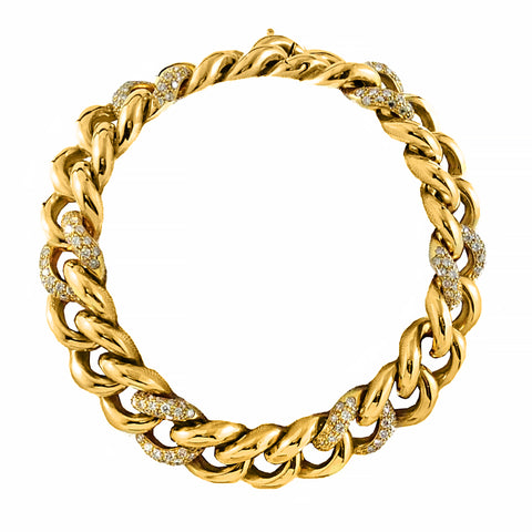 Gold diamond curb bracelet