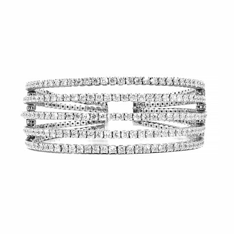 Rosendorff Brilliant Collection Diamond Bangle 12 carats, 18 Carat White Gold | Shop Online | Bracelet - Rosendorff
