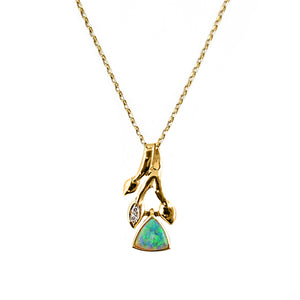 Solid White Opal and Diamond Pendant Suspended from 40cm Trace Chain 18ct Yellow Gold