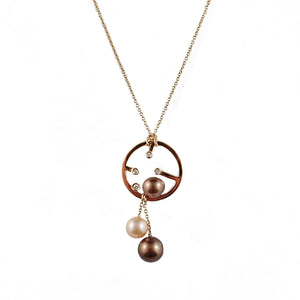 Diamonds With Chocolate & Champagne Pearls Pendant | Shop Online - Pendant - Rosendorffs Diamonds Perth, Australia