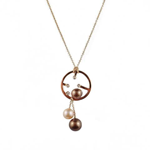 Diamonds With Chocolate & Champagne Pearls Pendant | Shop Online | Pendant - Rosendorff