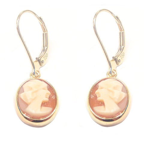 Uniquely Carved Cameo Drop Earrings