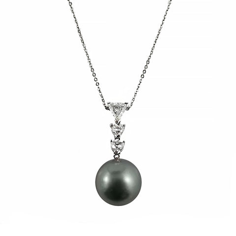 Trio Of Trillion Cut Diamonds & Tahitian Pearl Pendant | Shop Online | Pendant - Rosendorff