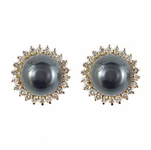 Black Pearl and Diamond 14ct Gold Earrings | Shop Online | Earrings - Rosendorff