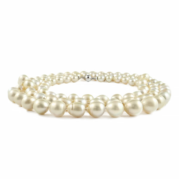 Semi Baroque Golden Lustrous South Sea Pearl Strand 18ct White Gold Clasp | Shop Online | Necklace - Rosendorff
