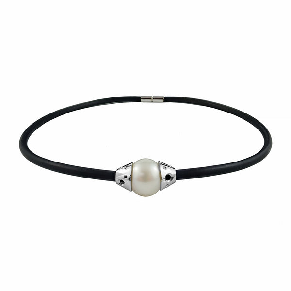 Broome Pearl 14.3mm and 18ct White Gold Featured on 43cm Rubber Necklet | Shop Online | Necklace - Rosendorff