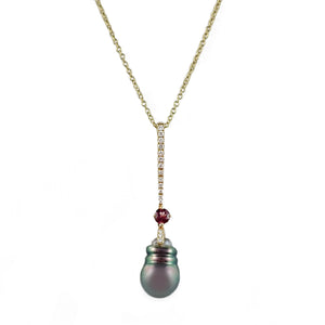Tahitian Pearl, Garnet and Diamond Pendant | Shop Online - Pendant - Rosendorffs Diamonds Perth, Australia