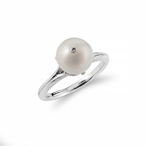 Cultured Pearl Diamond Jewelled White Gold Ring | Shop Online | Ring - Rosendorff