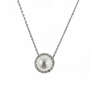 Highlight Diamond and Pearl Halo Pendant | Shop Online | Pendant - Rosendorff