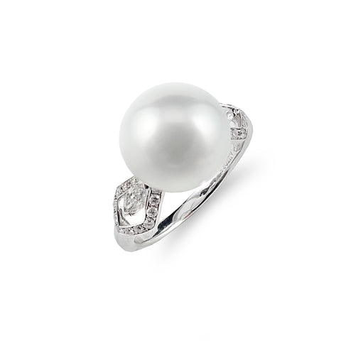 South Sea Pearl and Fancy Cut Diamond Ring | Shop Online | Ring - Rosendorff