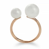 """Duo"" Cultured Pearl and Rose Gold Ring 