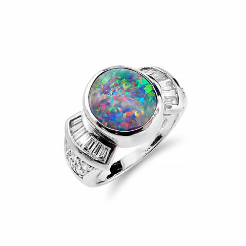 Black 3.40ct Solid Opal Ring and Baguette Cut Diamonds set in 18ct White Gold | Shop Online | Ring - Rosendorff