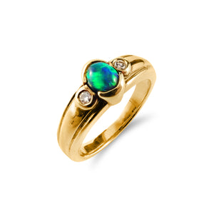 Timeless Solid Black Opal and Diamond Ring 18ct Yellow Gold
