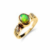Striking Solid Black Opal and Diamond Ring 18ct Yellow Gold