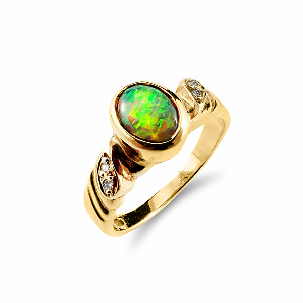Striking Solid Black Opal and Diamond Ring 18ct Yellow Gold | Shop Online | Ring - Rosendorff