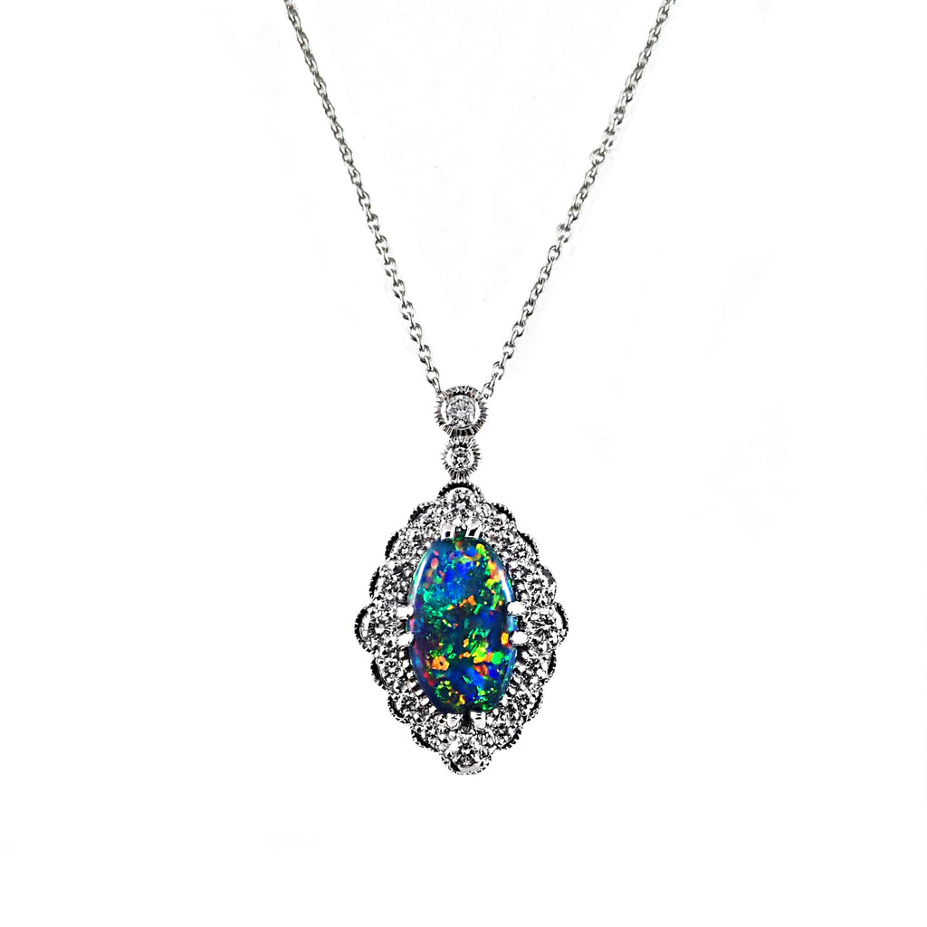 Bursting With Colour Australian Opal and Diamond Pendant | Shop Online | Pendant - Rosendorff