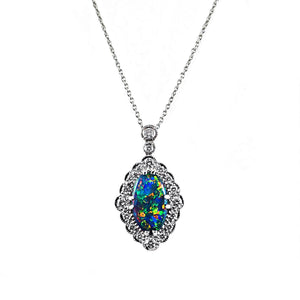 Bursting With Colour Australian Opal and Diamond Pendant