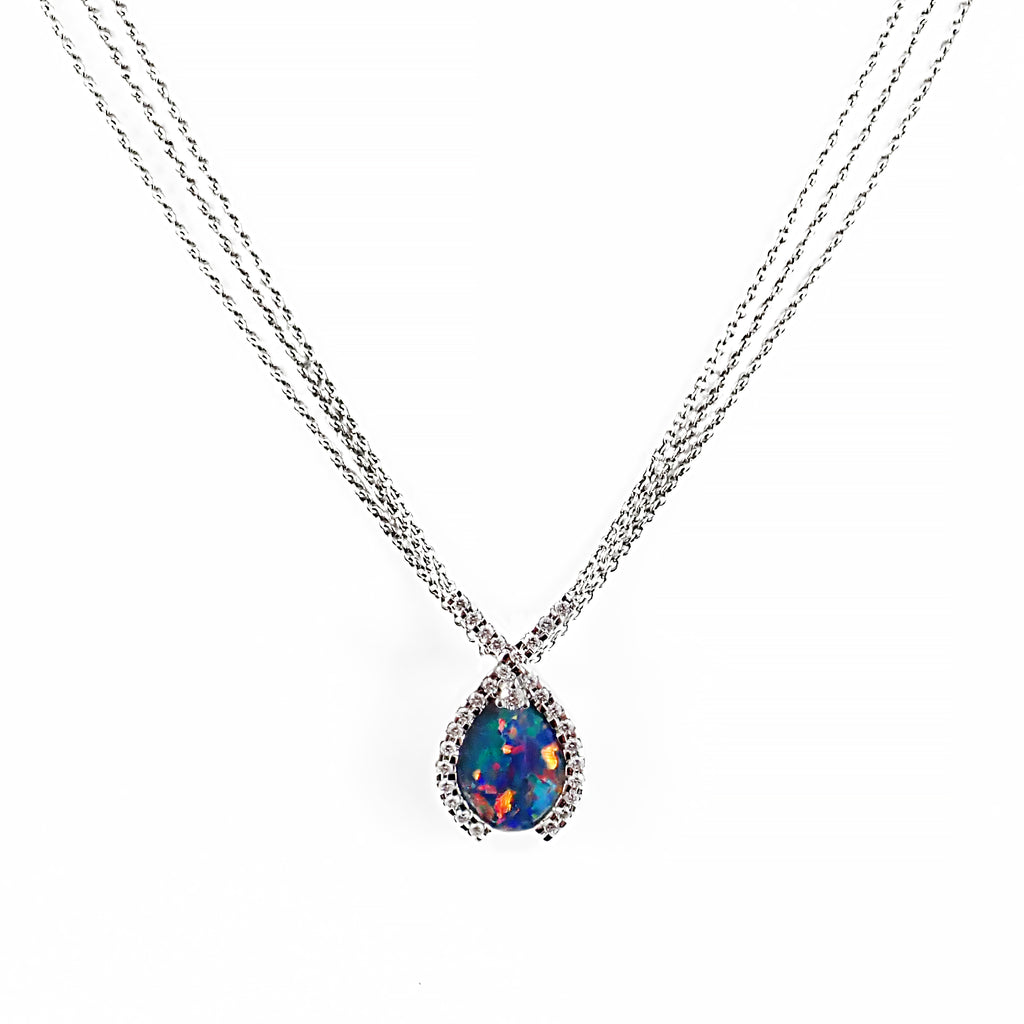 Fiery Red Blue and Green Opal and Diamond Pendant | Shop Online | Pendant - Rosendorff