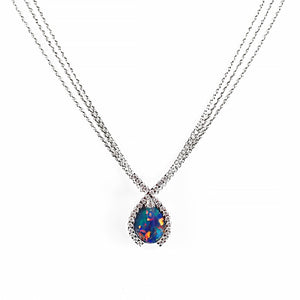 Fiery Red Blue and Green Opal and Diamond Pendant