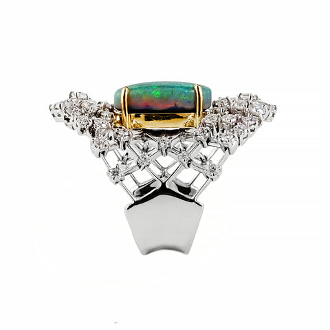 Rosendorff and Stefan Haffner Collaborative Opal and Diamond Lattice Creation | Shop Online | Ring - Rosendorff