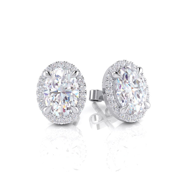 White Gold Diamond Earring - 340667