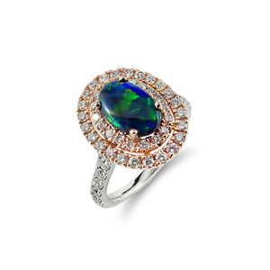 Classy and Elegant Solid Australian Opal and Diamond Ring